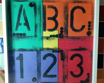 Mixed Media box framed multi coloured ABC 123 artwork