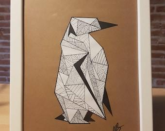 Deco Origami - Penguin - Penguin Lines frame