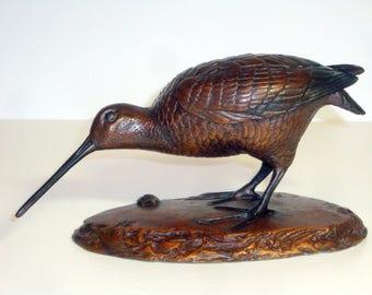 one of twenty bronze snipe bird sculpture