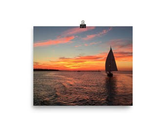 Sailboat Sunset Photo paper poster