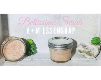 Bellimissio Scrub / pink Himalayan sea salt / coconut oil / geranium essential oil / glowing skin / 4 oz