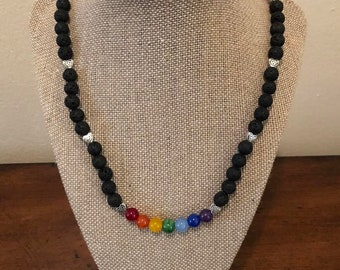 7 Chakras Necklace with Lava Beads