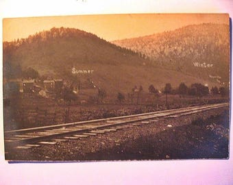 RPPC of: Railroad Tracks & Buildings in Hoyville PA