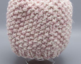 Waffle knit pink and white girl's hat