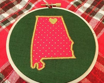 Home town state ornament  4 in. Wooden embroidery hoop