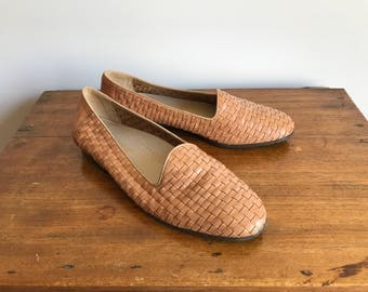 Tan Woven Leather Loafers, Women's Size 9