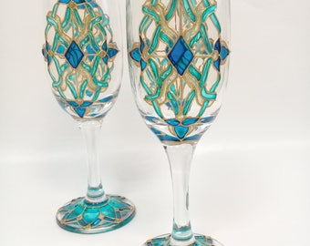 "Glass wine glasses ""Gold with turquoise"". Set of 2 hand painted glasses. Gift for her. Flutes Wedding glasses. Personalised glasses."