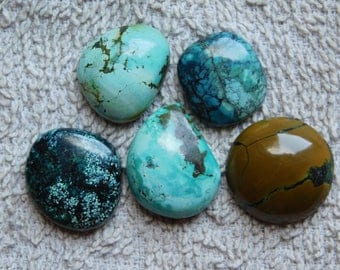 Lot ! Tibetan Turquoise loose gemstone Excellent cabochons gemstone 100%natural gemstone smooth polish handmade 135.45cts, 5 Pieces.