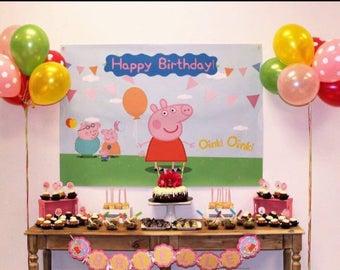Peppa pig Birthday | Peppa Pig Backdrop | Peppa pig Banner | Happy Birthday Backdrop