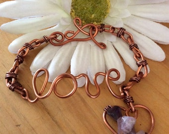 Copper heart dangle bracelet