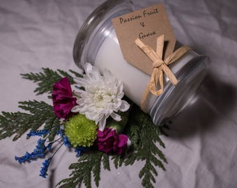 Passion Fruit and Guava Handpoured 8oz Soy Wax Candle
