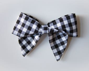 Large and Extra Large Black and White Gingham Plaid Schoolgirl Bow on Headband or Clip