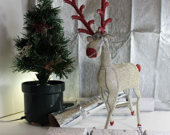 Whimsical Maginificent White Beaded Reindeer with Red trim