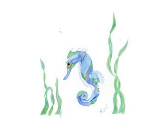Seahorse in Blue
