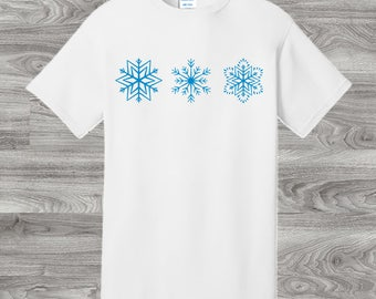 Blue Cosmic Crystal Snowflakes T-Shirt