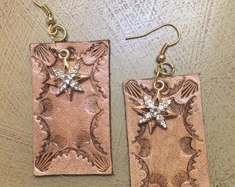 Hand-tooled leather earrings