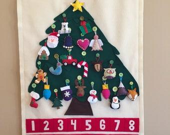 Handmade Felt Christmas Tree Advent Calendar with Ornaments
