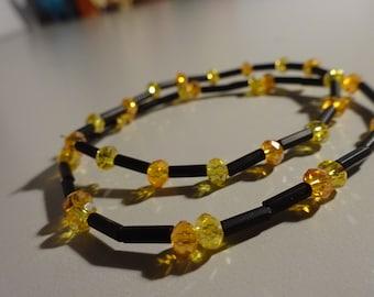 Sparkly Yellow, Orange and Black Stretchy Bracelet