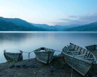 Boats at Pokhara, Lake Phewa, Nepal. Landscape Photographic Print.