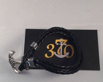 Silver Anchor Black Leather Bracelet
