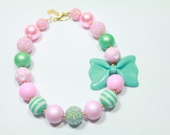 Mint and Pink Baby Chunky Necklace, Girls Bubblegum Necklace