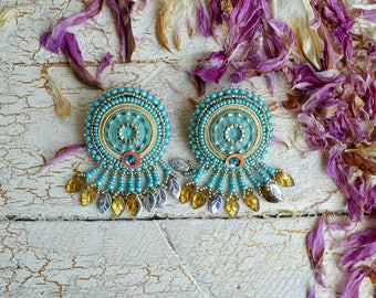 Sun turquoise earrings