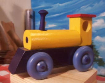 Colorful Blue and Yellow Toy Train Engine