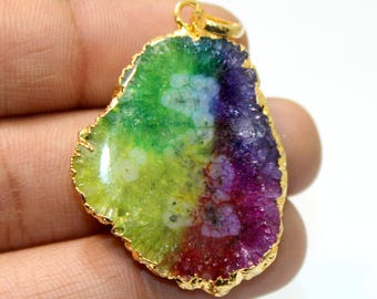 100%Natural  Multi Color Solar Quartz with Electroplated 24k Gold Edge Pendant 1.3 inch Approx