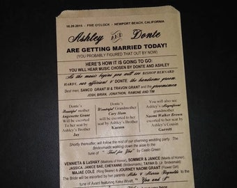 Wedding Day Program 5x7 Kraft bags Favor Sold in Sets of 20 Weddings, Bridal Shower, Engagement Party For all Occasions