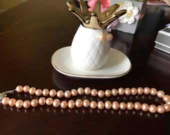 Peach Freshwater Pearl Necklace and Earring set