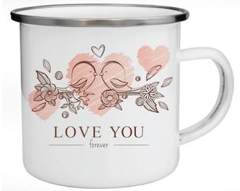 Enamel Mug, Metal Mug, Valentine's Day Gift, Gift for Couples, Love Birds, Love You Forever