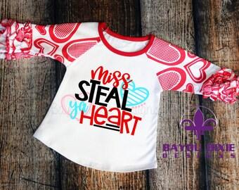 Miss Steal Ya Heart - Children's Valentine Ruffle Raglan Shirt