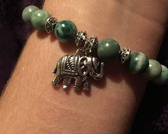 Jade with Elephant Charm and Accents
