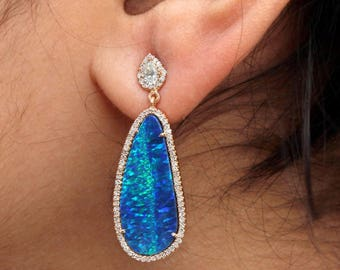 Natural Pave Diamond Opal Gemstone Dangle Earrings Solid 14k Yellow Gold Jewelry