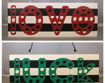 REVERSIBLE Valentine's - Saint Patrick's Day Love/Luck Wooden Sign