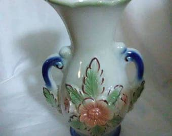 Vintage Brazil vase #1924. Blue and beige with pink flowers.
