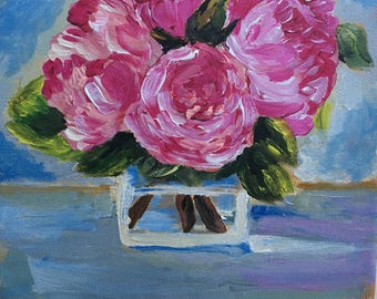 Blumen: flower in glass vase, Acrylic on Canvas 20x20 cm