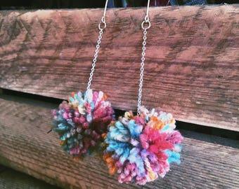 Handmade multicoloured pompom earrings
