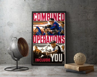 "American Propaganda Poster ""Combined Operations Include You"", Second world war military prints wall art militaria decor, industrial ww2 wwii"