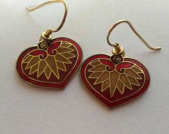 Laurel Burch Vintage Red Heart Earrings RARE color