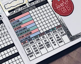 Cleaning Habit Tracker for Passion Planner, Bullet Journal Planner Stickers, Tracker Stickers