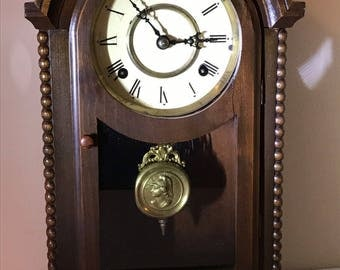 Vintage Japanese Deco Style Mantle Shelf Gong Clock