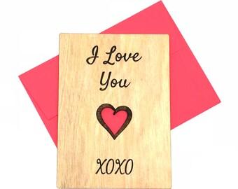 Wood card I love you