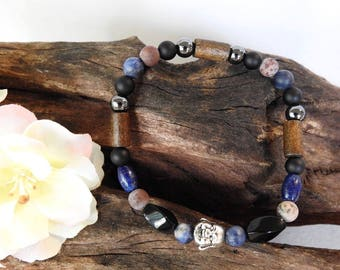 Natural Sodalite, Lapis Lazuli, Black Agate, Grass Flower Jasper, Hematite healing gemstone stretch bracelet with Buddha spacer
