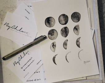 Moons with China ink