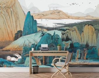 Oriental Wallpaper, Removable Wallpaper   Living Room Wallpaper   Self  Adhesive Wall Decal   Peel