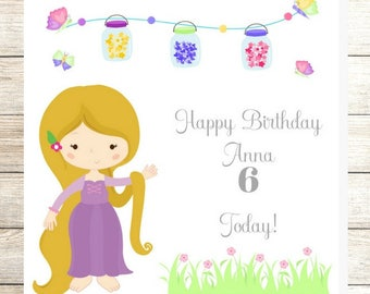 Tangled Rapunzel Inspired Birthday Card, Personalised Birthday Card, Daughter Card, Disney Princess, Granddaughter Card, 2nd, 3rd, 4th, 5th