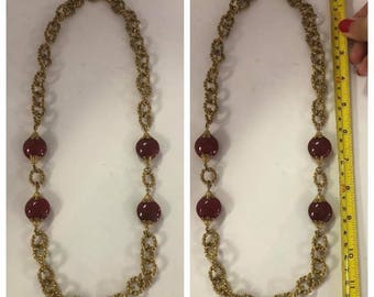 Authentic Designer Miriam Haskell Gold & Red Stone Necklace