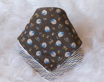 Unisex Brown Bandanas Set ~ birds and Zig zag lines