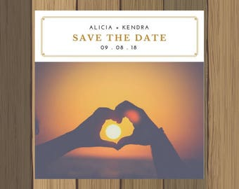 Custom Save The Date Wedding Announcement Invitation with Photo